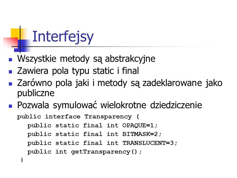 Interfejsy Wszystkie metody są abstrakcyjne