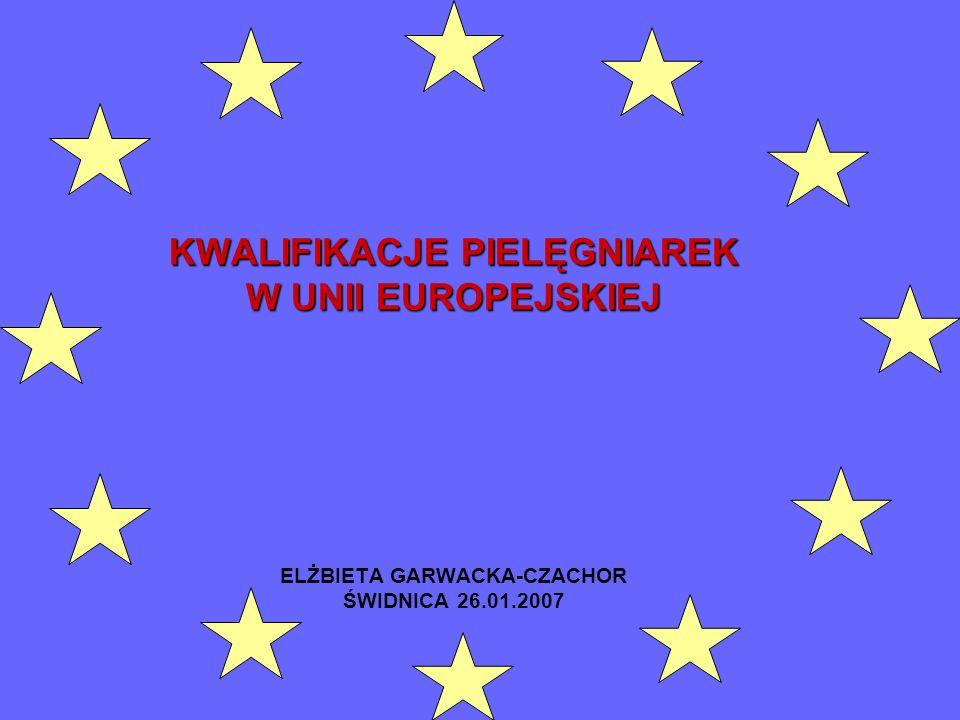 KWALIFIKACJE PIELĘGNIAREK W UNII EUROPEJSKIEJ ELŻBIETA GARWACKA-CZACHOR ŚWIDNICA 26.01.2007