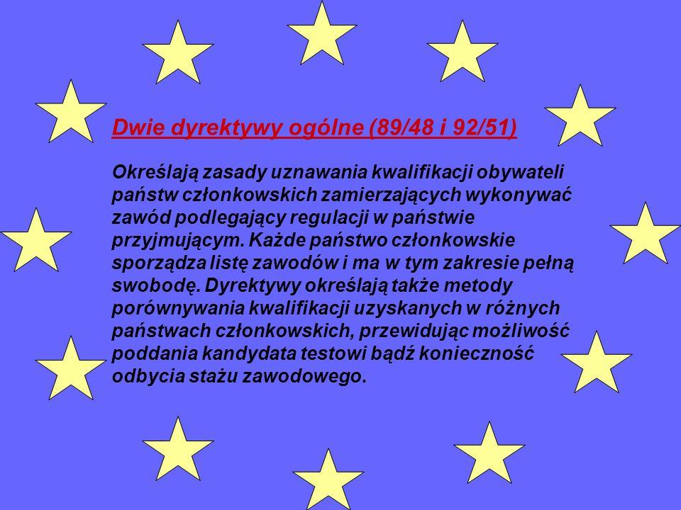 Dwie dyrektywy ogólne (89/48 i 92/51)