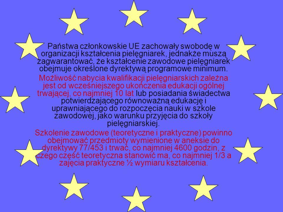 Państwa członkowskie UE zachowały swobodę w organizacji kształcenia pielęgniarek, jednakże muszą zagwarantować, że kształcenie zawodowe pielęgniarek obejmuje określone dyrektywą programowe minimum.