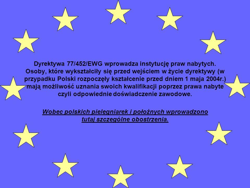 Dyrektywa 77/452/EWG wprowadza instytucję praw nabytych
