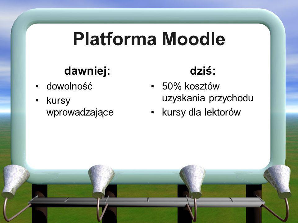 Platforma Moodle dawniej: dziś: dowolność kursy wprowadzające