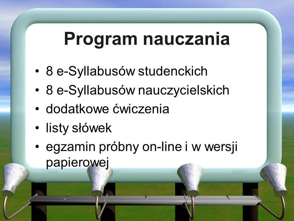 Program nauczania 8 e-Syllabusów studenckich