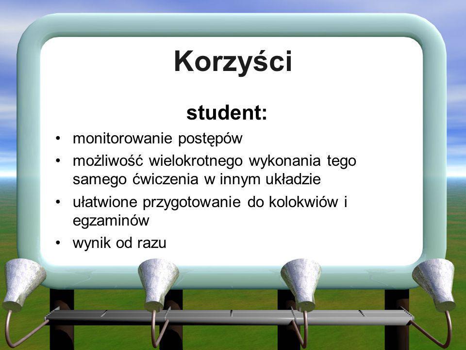 Korzyści student: monitorowanie postępów