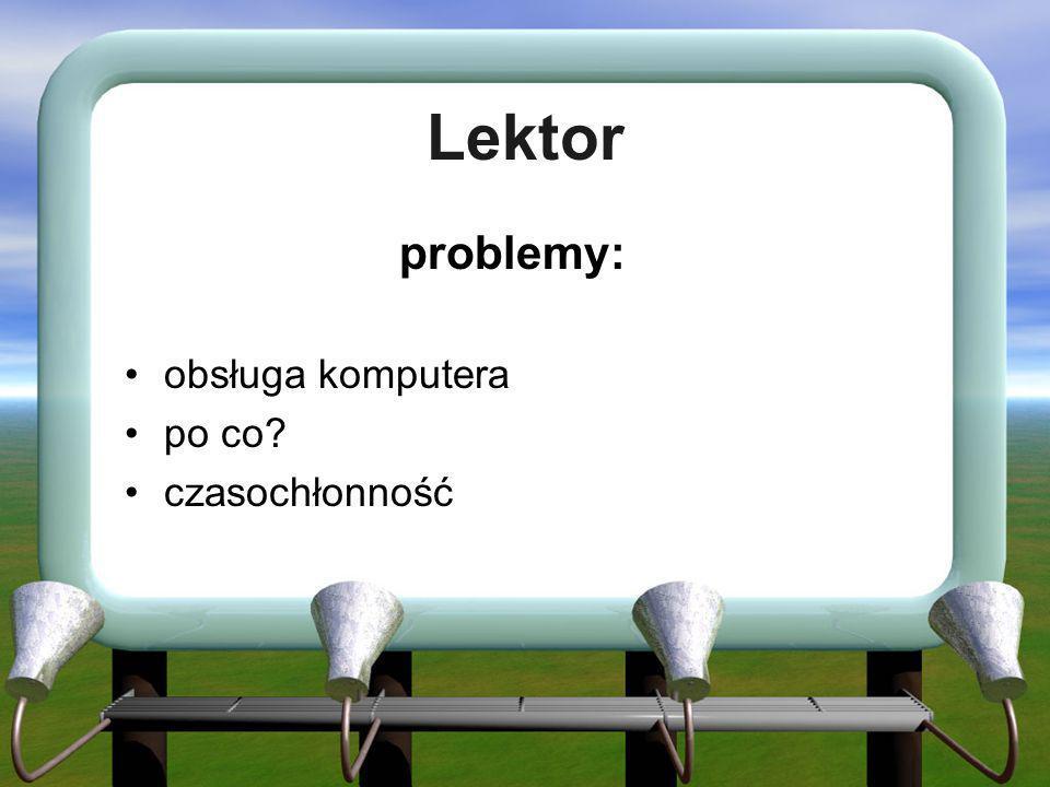 Lektor problemy: obsługa komputera po co czasochłonność
