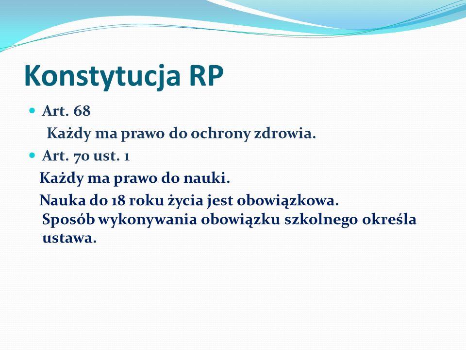 Konstytucja RP Art. 68 Każdy ma prawo do ochrony zdrowia.