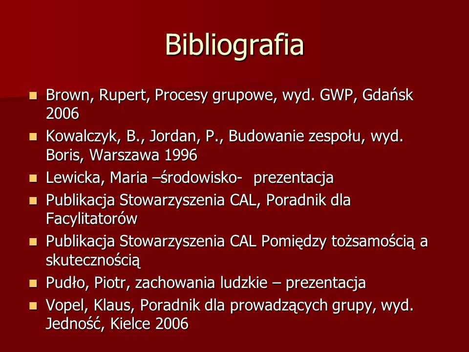 Bibliografia Brown, Rupert, Procesy grupowe, wyd. GWP, Gdańsk 2006