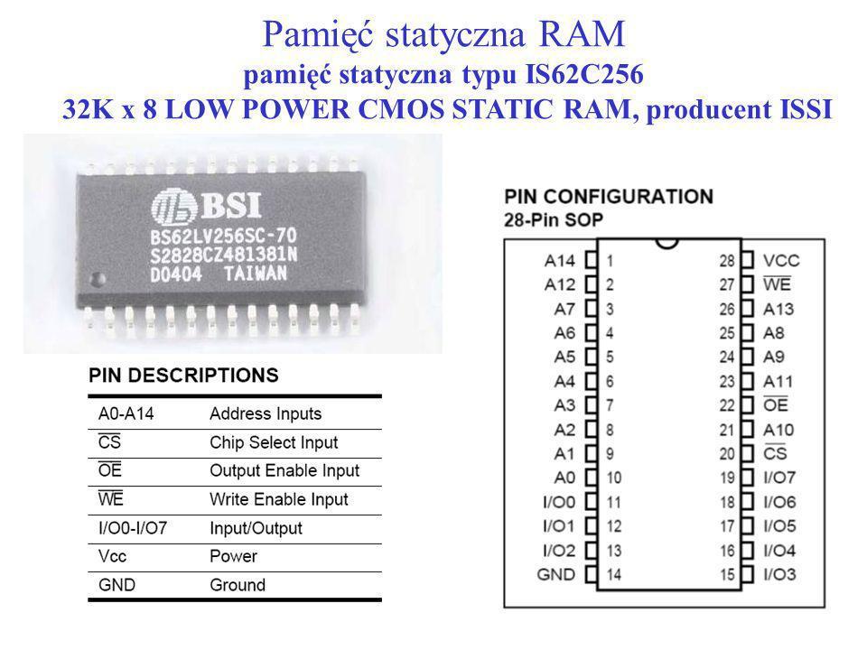 Pamięć statyczna RAM pamięć statyczna typu IS62C256 32K x 8 LOW POWER CMOS STATIC RAM, producent ISSI