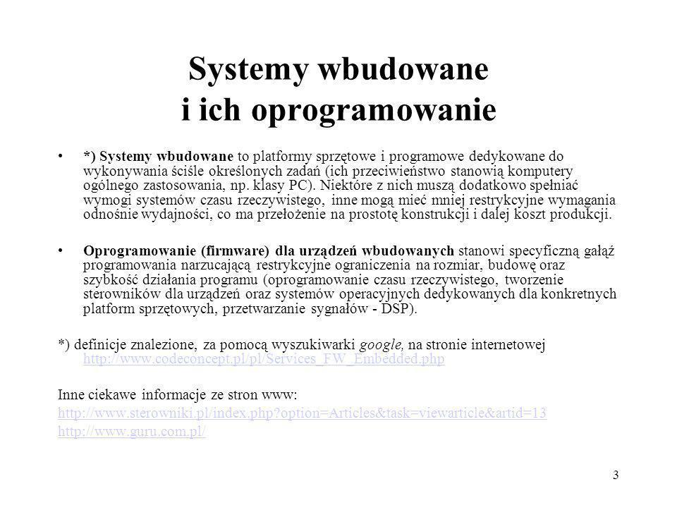 Systemy wbudowane i ich oprogramowanie