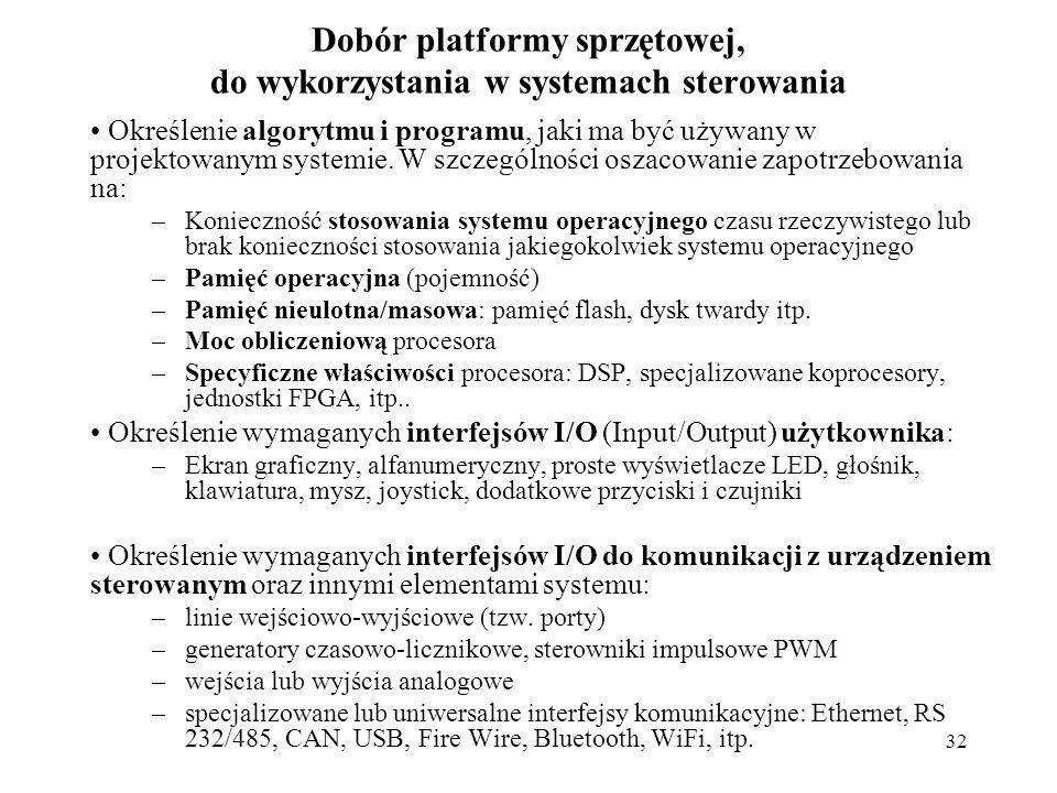 Dobór platformy sprzętowej, do wykorzystania w systemach sterowania