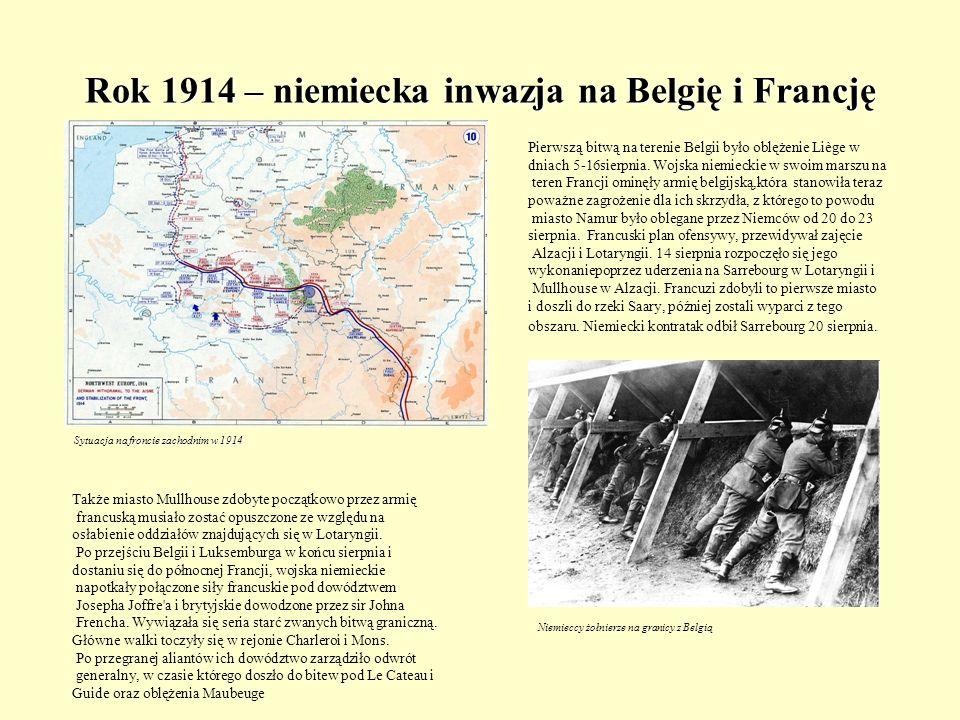 Rok 1914 – niemiecka inwazja na Belgię i Francję