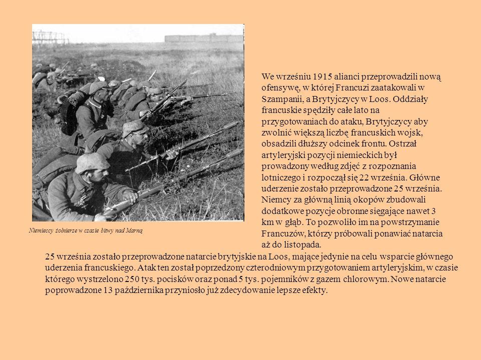 We wrześniu 1915 alianci przeprowadzili nową ofensywę, w której Francuzi zaatakowali w Szampanii, a Brytyjczycy w Loos. Oddziały francuskie spędziły całe lato na przygotowaniach do ataku, Brytyjczycy aby zwolnić większą liczbę francuskich wojsk, obsadzili dłuższy odcinek frontu. Ostrzał artyleryjski pozycji niemieckich był prowadzony według zdjęć z rozpoznania lotniczego i rozpoczął się 22 września. Główne uderzenie zostało przeprowadzone 25 września. Niemcy za główną linią okopów zbudowali dodatkowe pozycje obronne sięgające nawet 3 km w głąb. To pozwoliło im na powstrzymanie Francuzów, którzy próbowali ponawiać natarcia aż do listopada.