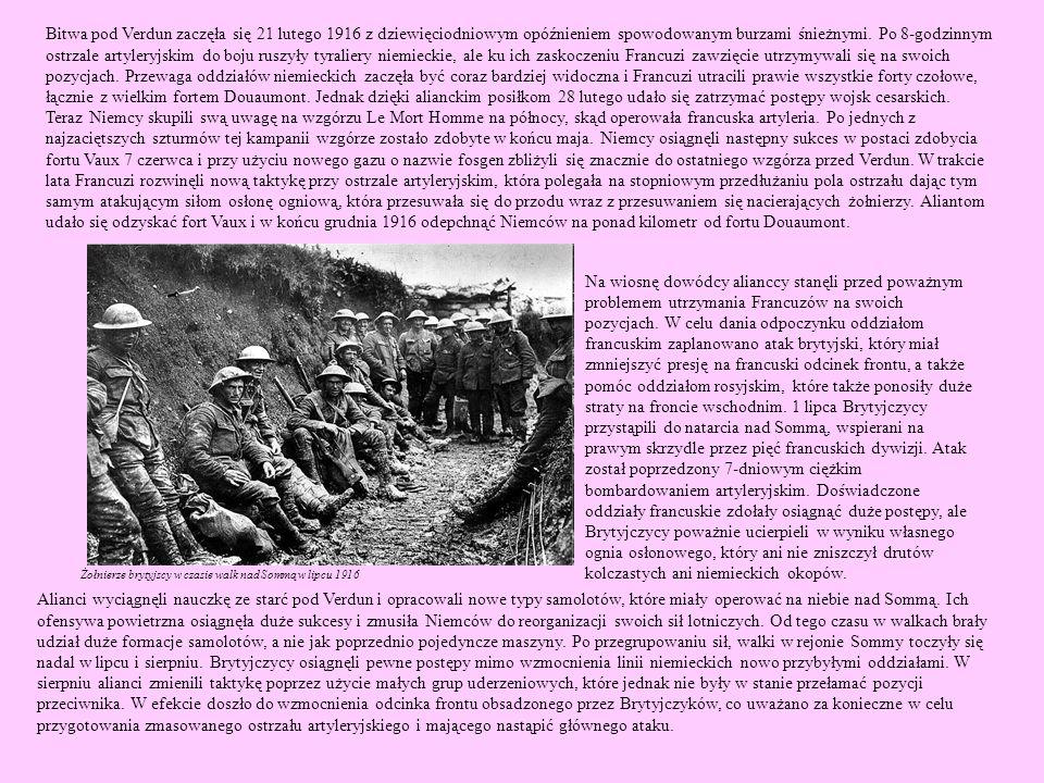 Bitwa pod Verdun zaczęła się 21 lutego 1916 z dziewięciodniowym opóźnieniem spowodowanym burzami śnieżnymi. Po 8-godzinnym ostrzale artyleryjskim do boju ruszyły tyraliery niemieckie, ale ku ich zaskoczeniu Francuzi zawzięcie utrzymywali się na swoich pozycjach. Przewaga oddziałów niemieckich zaczęła być coraz bardziej widoczna i Francuzi utracili prawie wszystkie forty czołowe, łącznie z wielkim fortem Douaumont. Jednak dzięki alianckim posiłkom 28 lutego udało się zatrzymać postępy wojsk cesarskich.