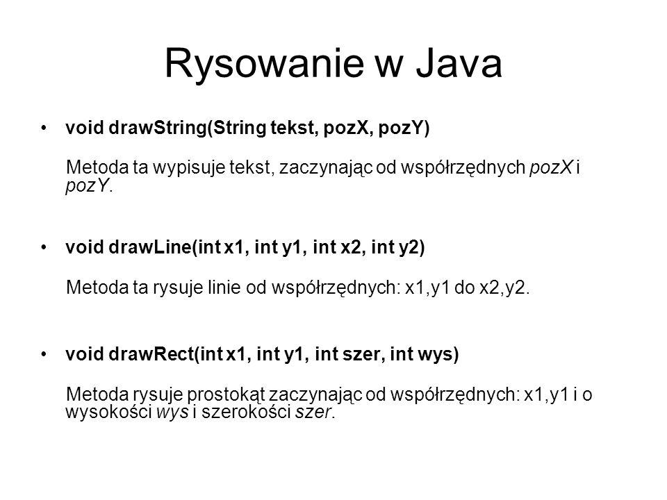 Rysowanie w Java void drawString(String tekst, pozX, pozY)