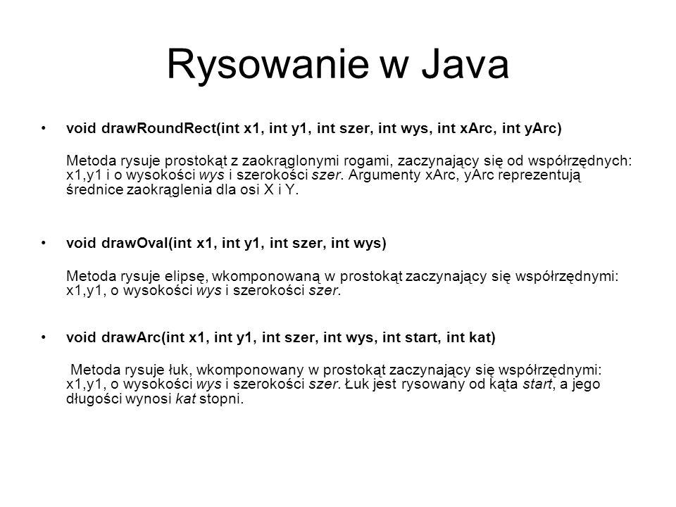 Rysowanie w Java void drawRoundRect(int x1, int y1, int szer, int wys, int xArc, int yArc)