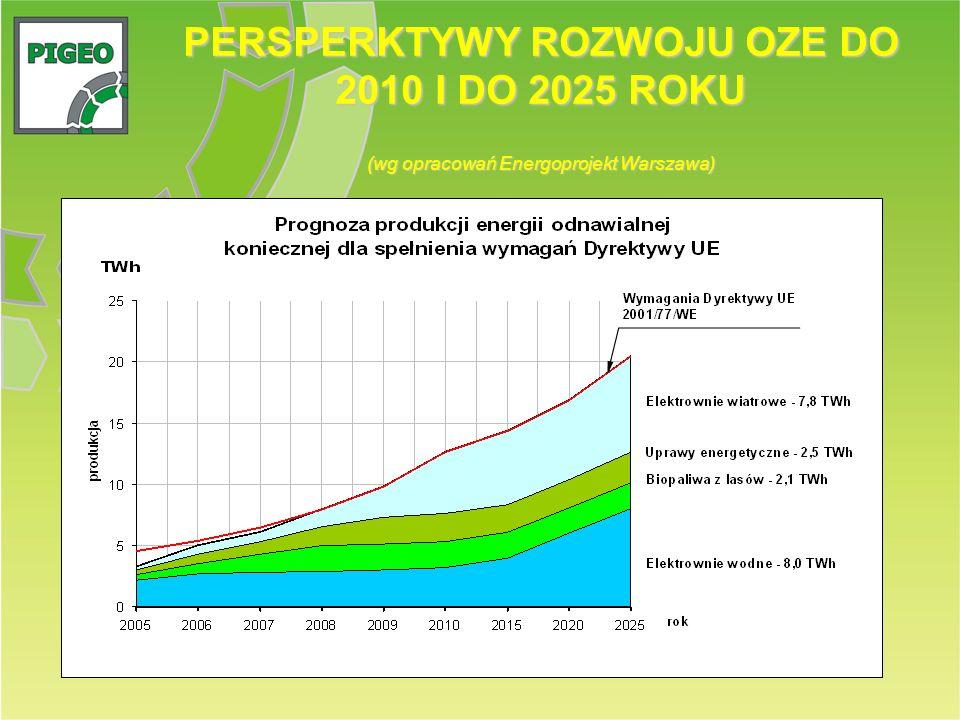 PERSPERKTYWY ROZWOJU OZE DO 2010 I DO 2025 ROKU (wg opracowań Energoprojekt Warszawa)