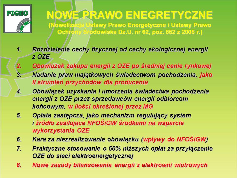 NOWE PRAWO ENEGRETYCZNE (Nowelizacja Ustawy Prawo Energetyczne i Ustawy Prawo Ochrony Środowiska Dz.U. nr 62, poz. 552 z 2005 r.)