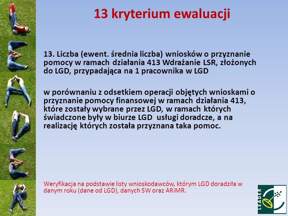 13 kryterium ewaluacji