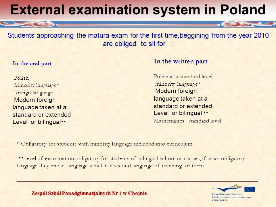External examination system in Poland