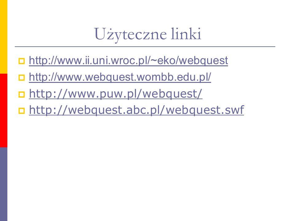 Użyteczne linki http://www.ii.uni.wroc.pl/~eko/webquest