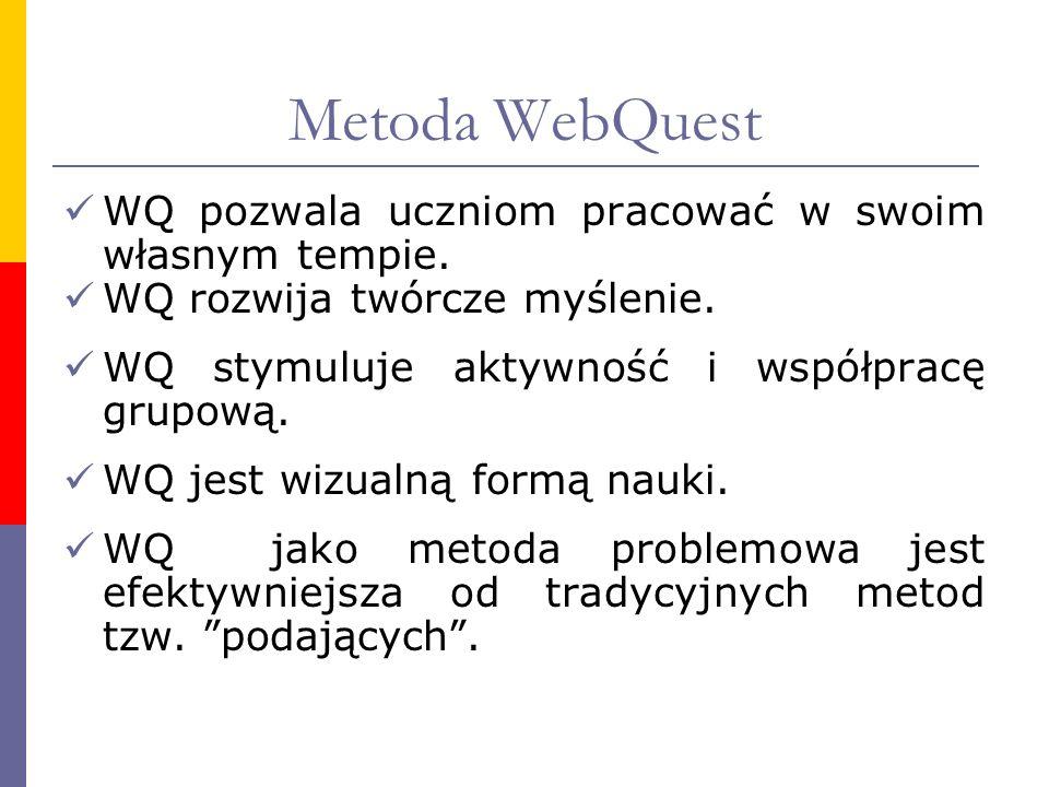 Metoda WebQuest WQ pozwala uczniom pracować w swoim własnym tempie.