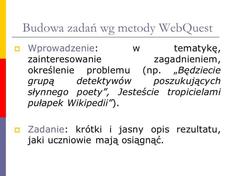 Budowa zadań wg metody WebQuest