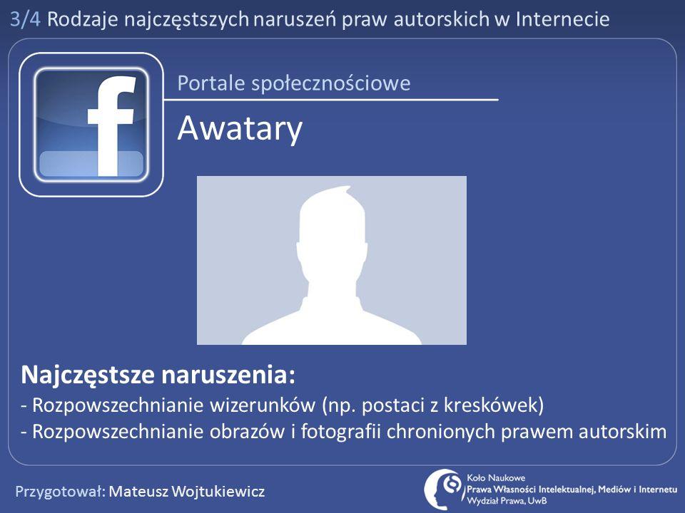 Awatary Najczęstsze naruszenia: Portale społecznościowe