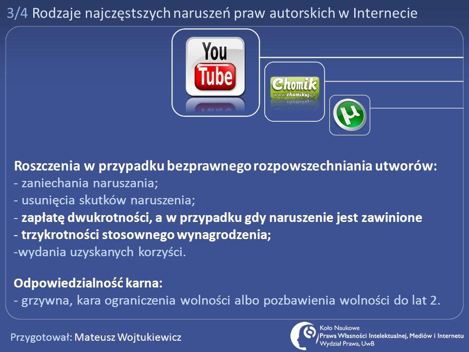 3/4 Rodzaje najczęstszych naruszeń praw autorskich w Internecie