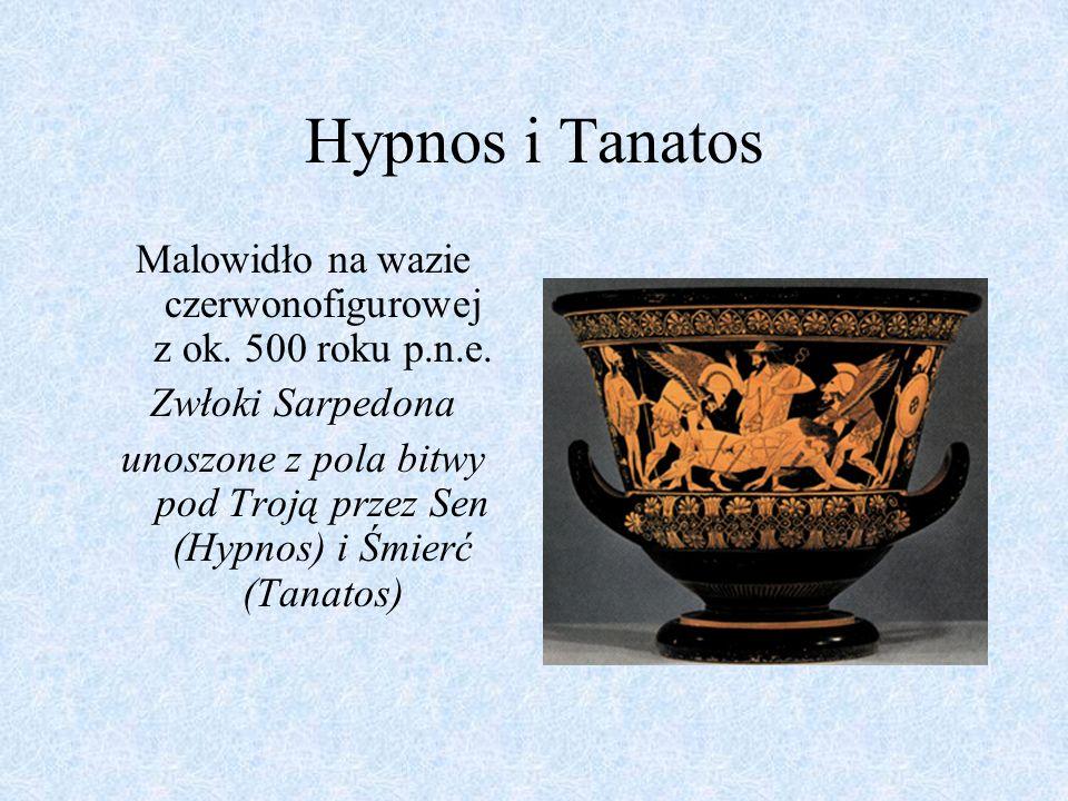 Hypnos i Tanatos Malowidło na wazie czerwonofigurowej z ok. 500 roku p.n.e. Zwłoki Sarpedona.