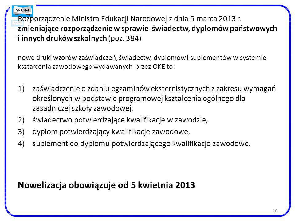 Nowelizacja obowiązuje od 5 kwietnia 2013