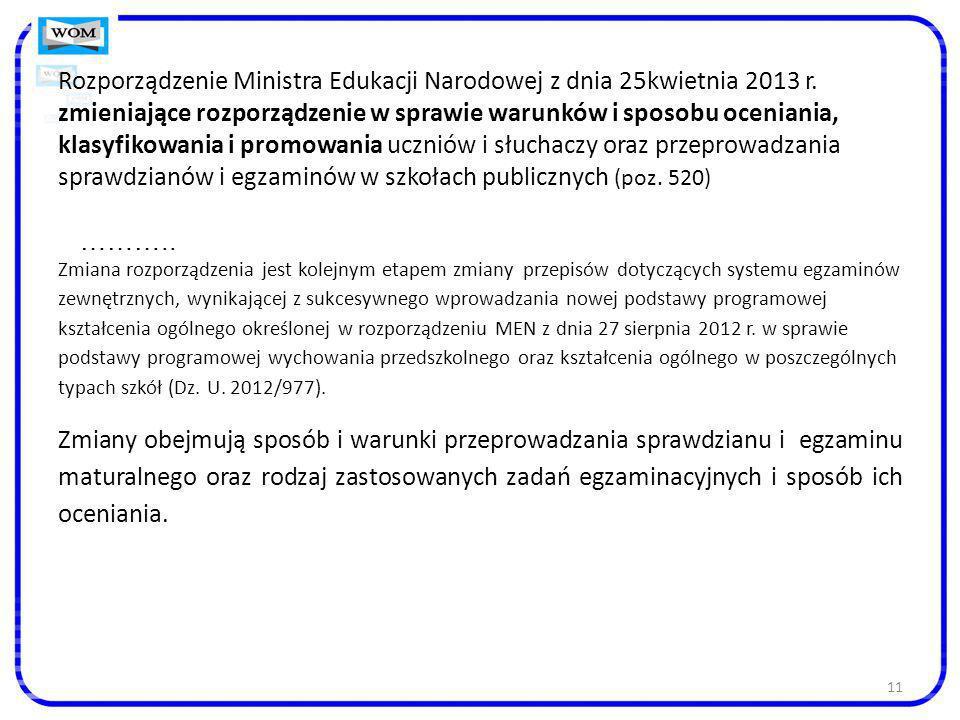 Rozporządzenie Ministra Edukacji Narodowej z dnia 25kwietnia 2013 r