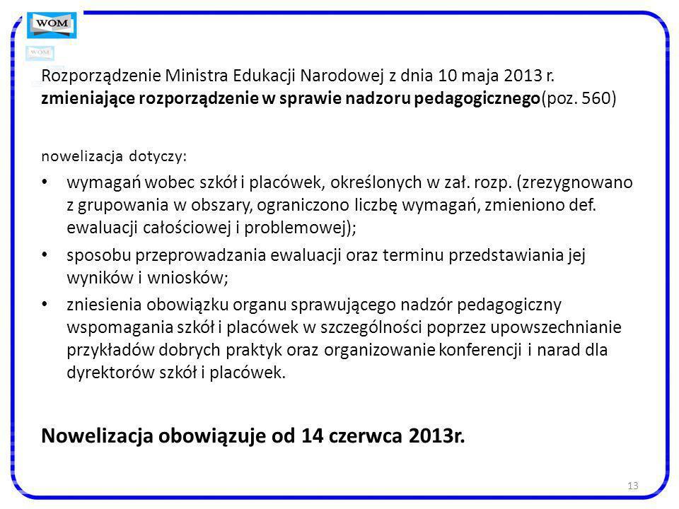 Nowelizacja obowiązuje od 14 czerwca 2013r.