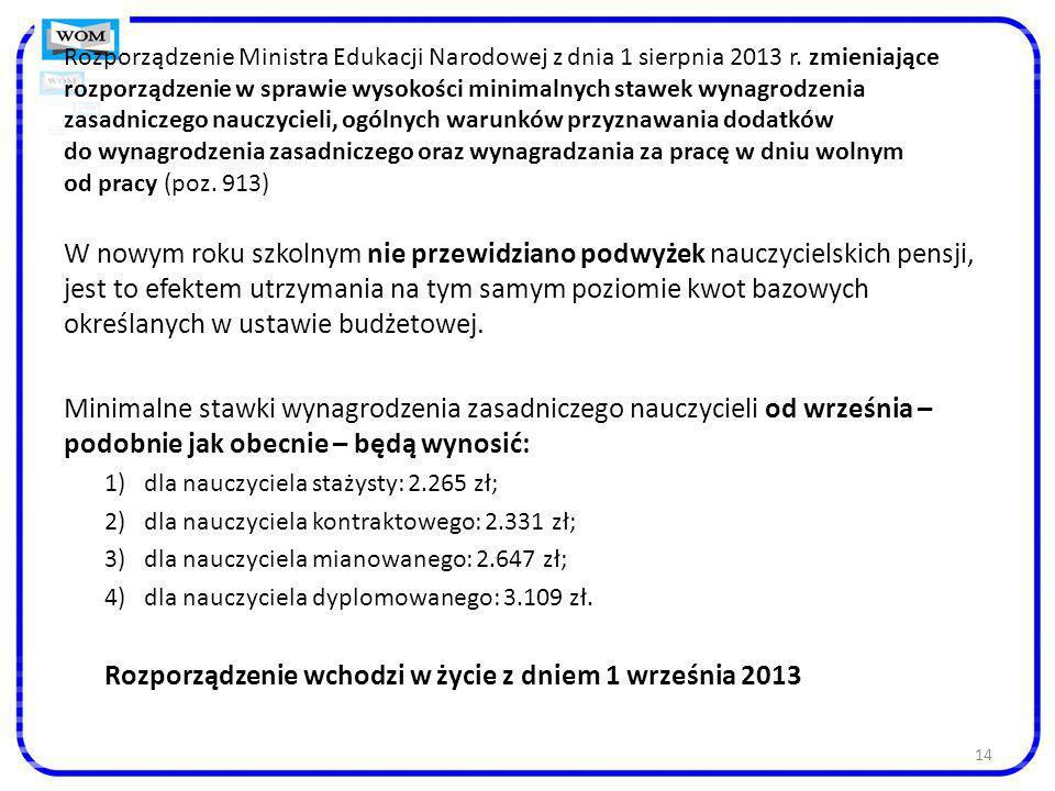 Rozporządzenie Ministra Edukacji Narodowej z dnia 1 sierpnia 2013 r