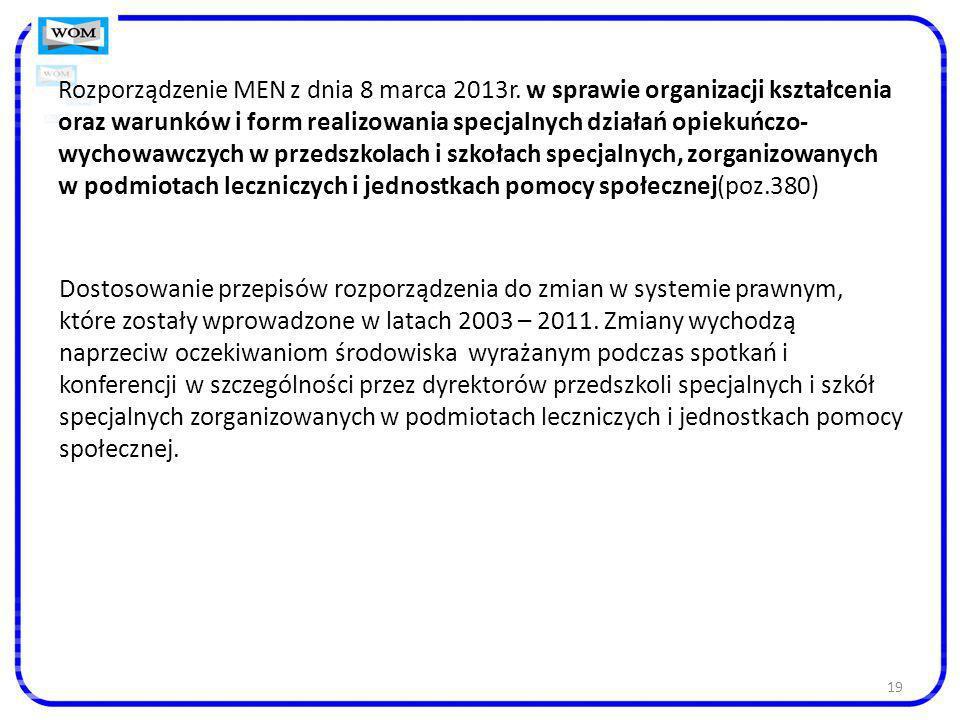 Rozporządzenie MEN z dnia 8 marca 2013r