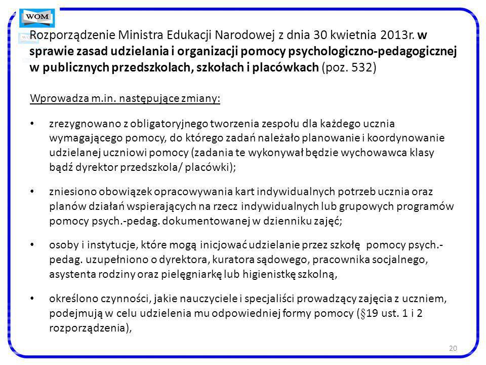 Rozporządzenie Ministra Edukacji Narodowej z dnia 30 kwietnia 2013r