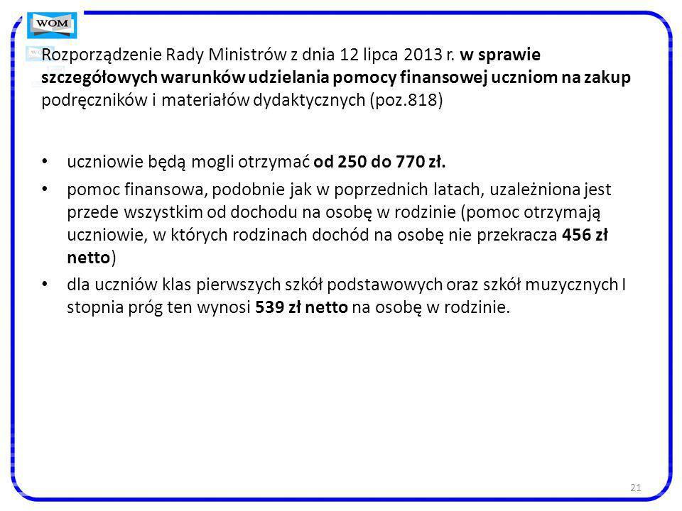Rozporządzenie Rady Ministrów z dnia 12 lipca 2013 r