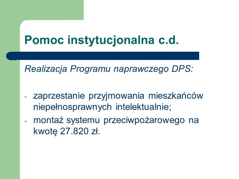 Pomoc instytucjonalna c.d.