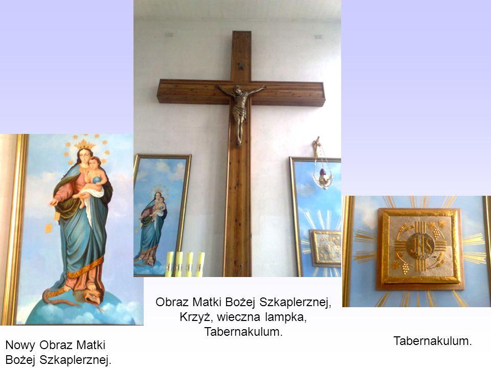 Obraz Matki Bożej Szkaplerznej, Krzyż, wieczna lampka, Tabernakulum.