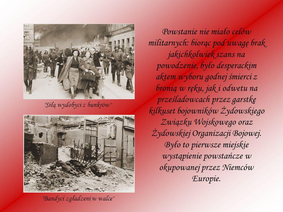 Powstanie nie miało celów militarnych: biorąc pod uwagę brak jakichkolwiek szans na powodzenie, było desperackim aktem wyboru godnej śmierci z bronią w ręku, jak i odwetu na prześladowcach przez garstkę kilkuset bojowników Żydowskiego Związku Wojskowego oraz Żydowskiej Organizacji Bojowej. Było to pierwsze miejskie wystąpienie powstańcze w okupowanej przez Niemców Europie.