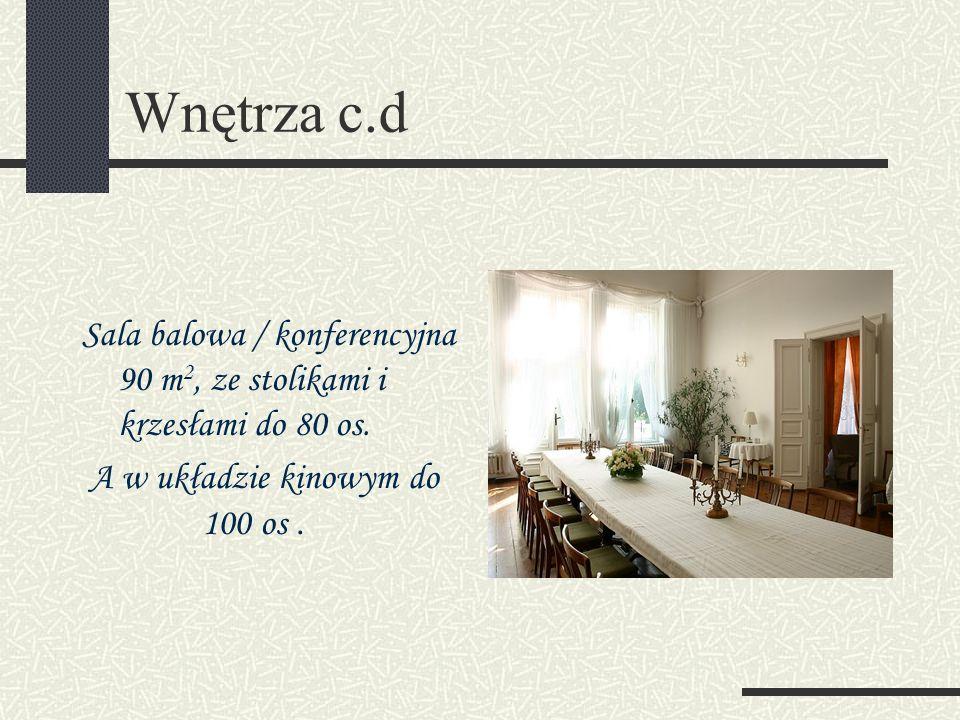 Wnętrza c.d Sala balowa / konferencyjna 90 m2, ze stolikami i krzesłami do 80 os.