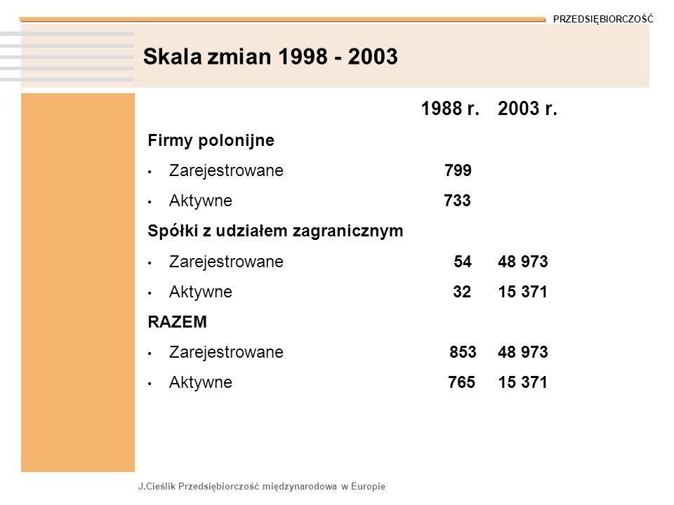 Skala zmian 1998 - 2003 1988 r. 2003 r. Firmy polonijne
