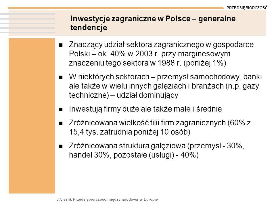 Inwestycje zagraniczne w Polsce – generalne tendencje