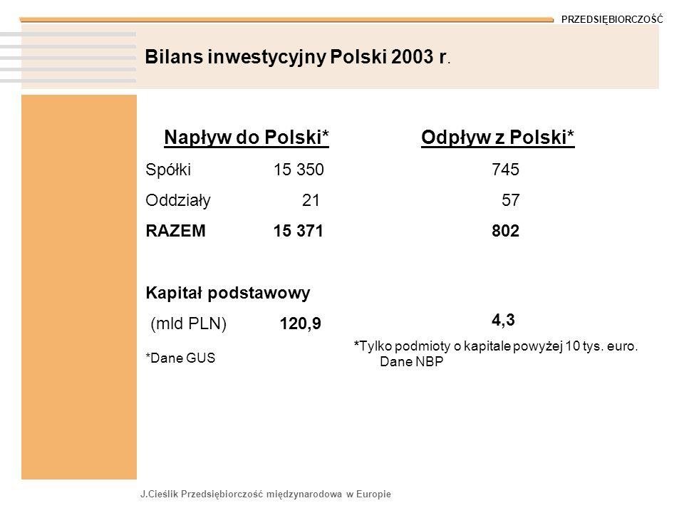 Bilans inwestycyjny Polski 2003 r.