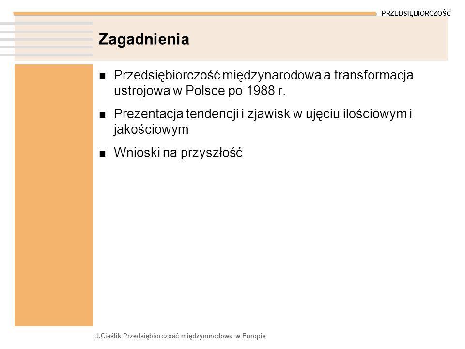 ZagadnieniaPrzedsiębiorczość międzynarodowa a transformacja ustrojowa w Polsce po 1988 r.