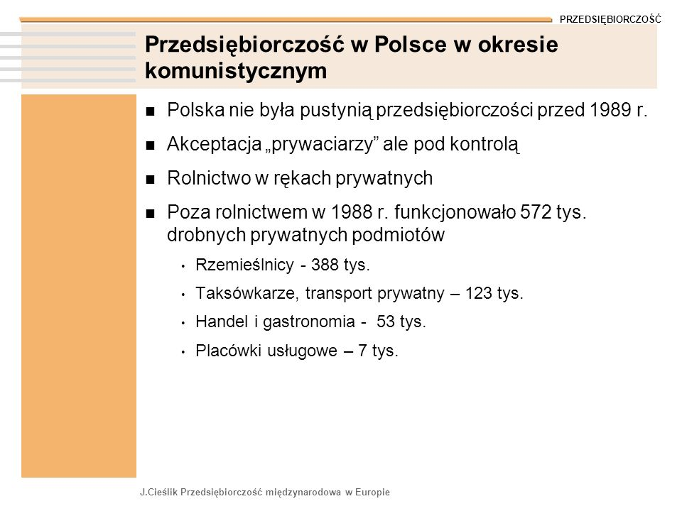 Przedsiębiorczość w Polsce w okresie komunistycznym