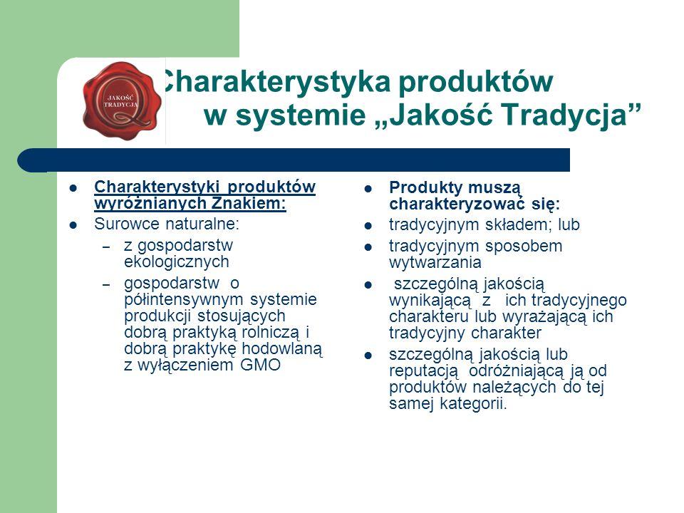 """Charakterystyka produktów w systemie """"Jakość Tradycja"""