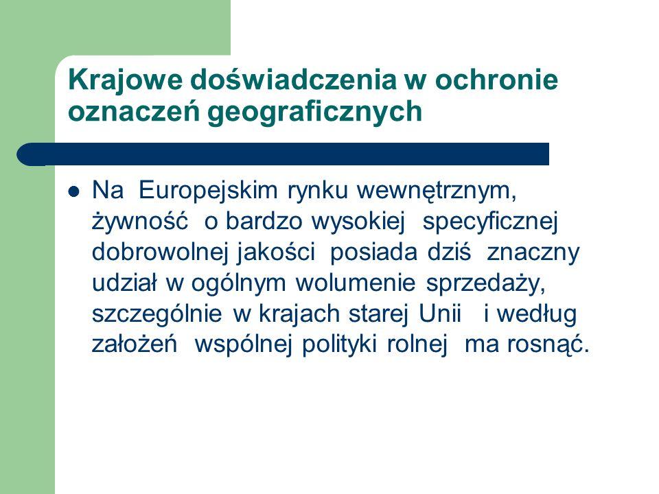 Krajowe doświadczenia w ochronie oznaczeń geograficznych