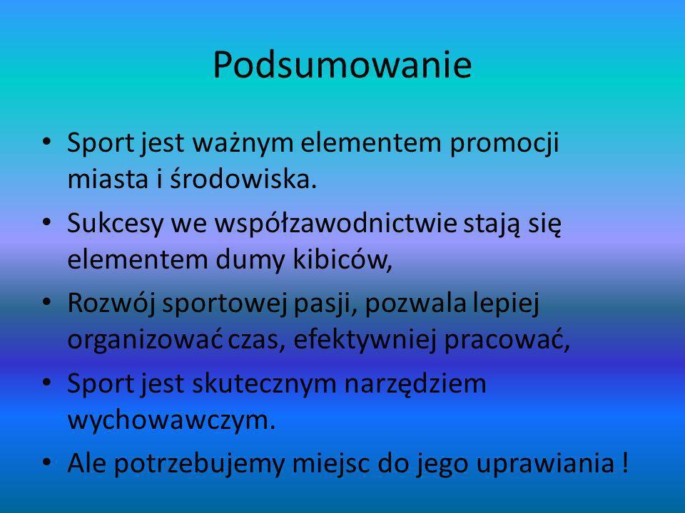 Podsumowanie Sport jest ważnym elementem promocji miasta i środowiska.