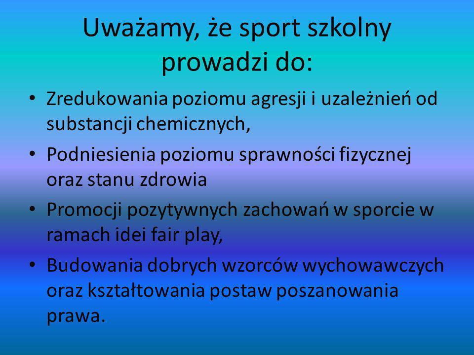 Uważamy, że sport szkolny prowadzi do: