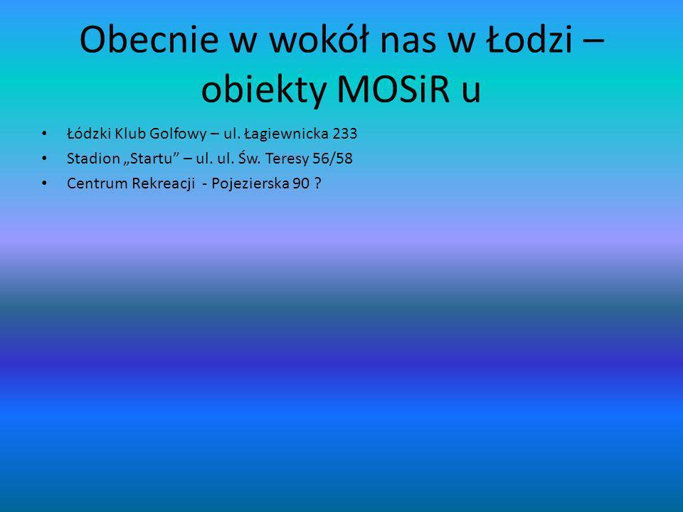 Obecnie w wokół nas w Łodzi – obiekty MOSiR u